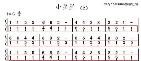 2012-12-14 如果最简单的弹奏方法熟练之后,接下来尝试一下小星星这首
