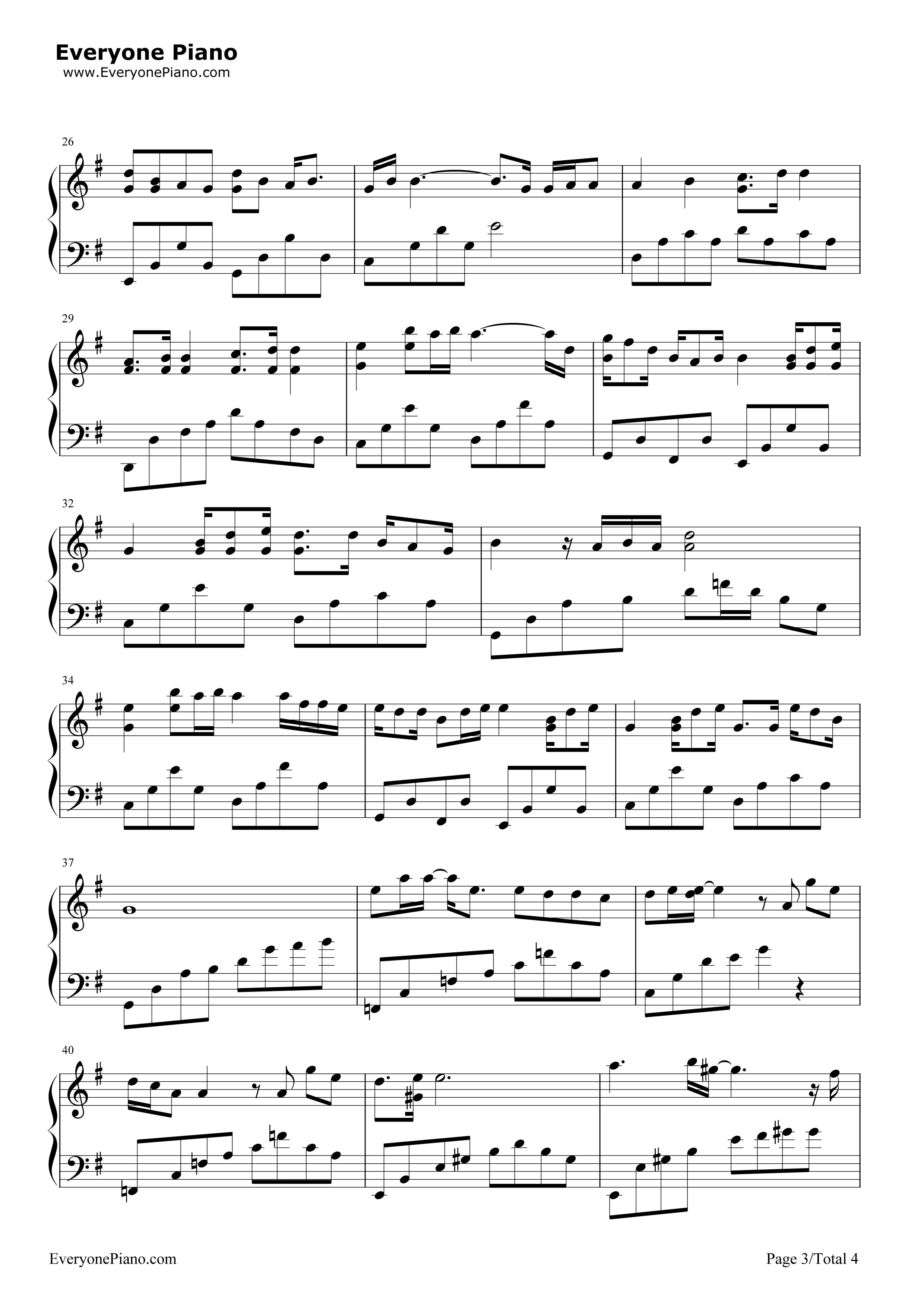 我的歌声裏五线谱预览3-钢琴谱(五线谱,双手简谱)免费