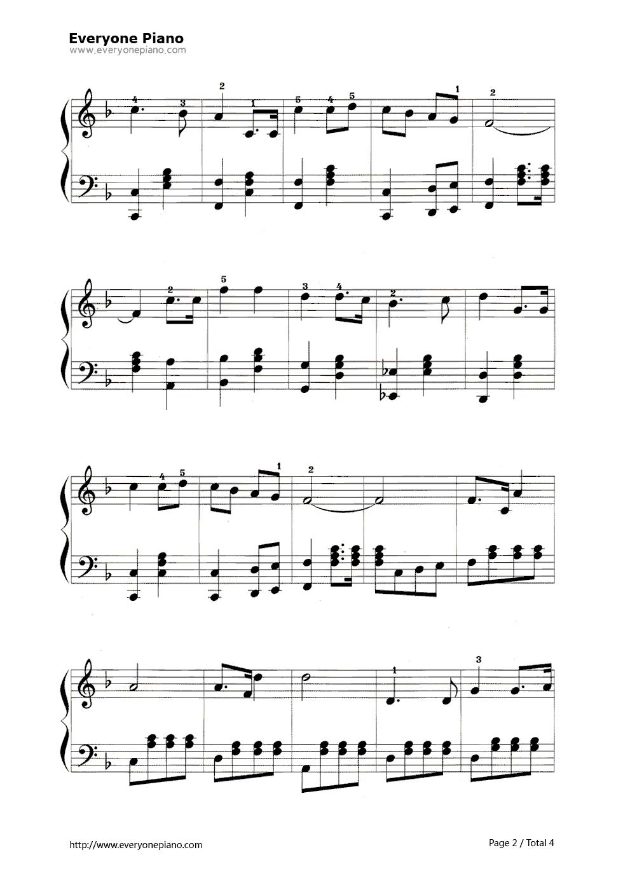 钢琴曲谱 练习曲 歌唱祖国 歌唱祖国五线谱预览2   仅供个人学习交流