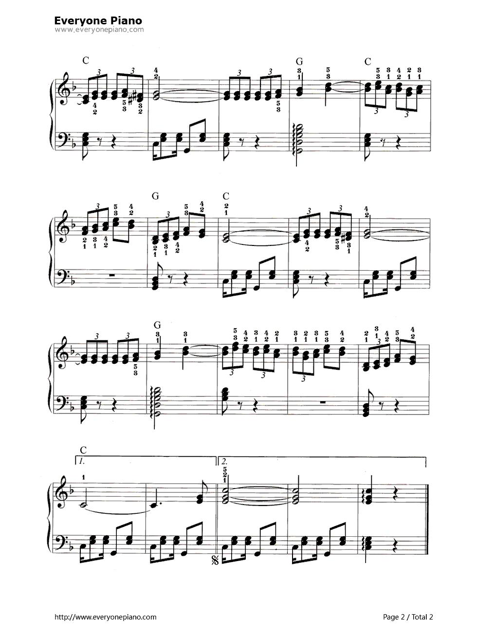 鸽子-西班牙民歌五线谱预览2-钢琴谱(五线谱,双手简谱