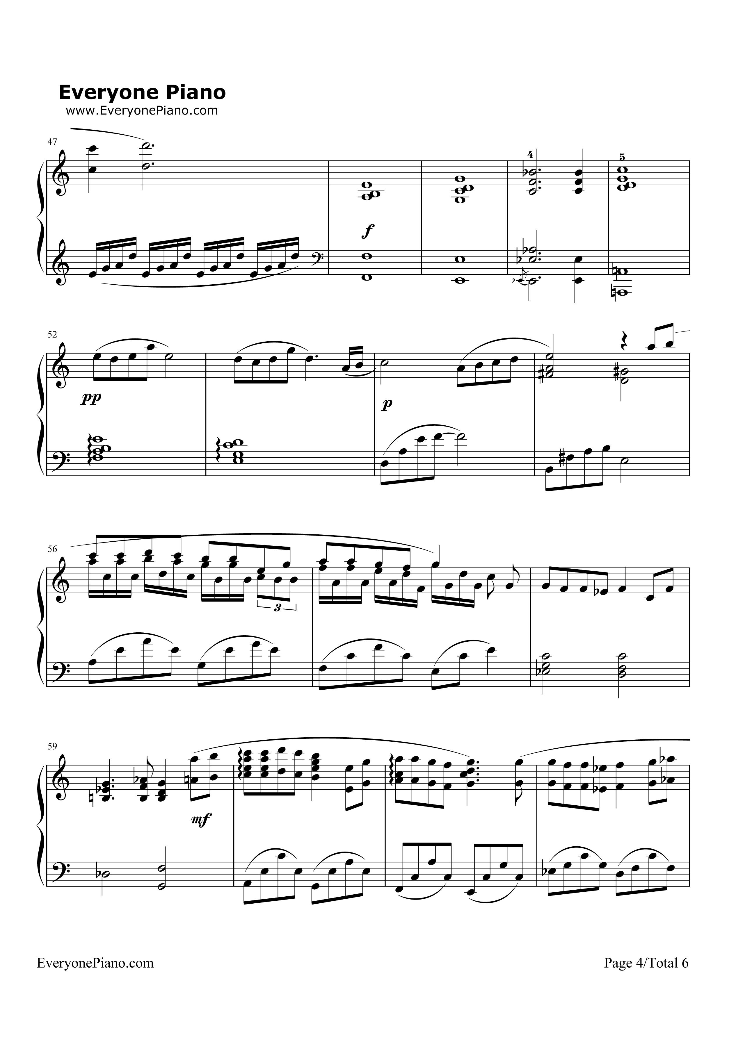 钢琴曲谱 动漫 《千与千寻》-那个夏天