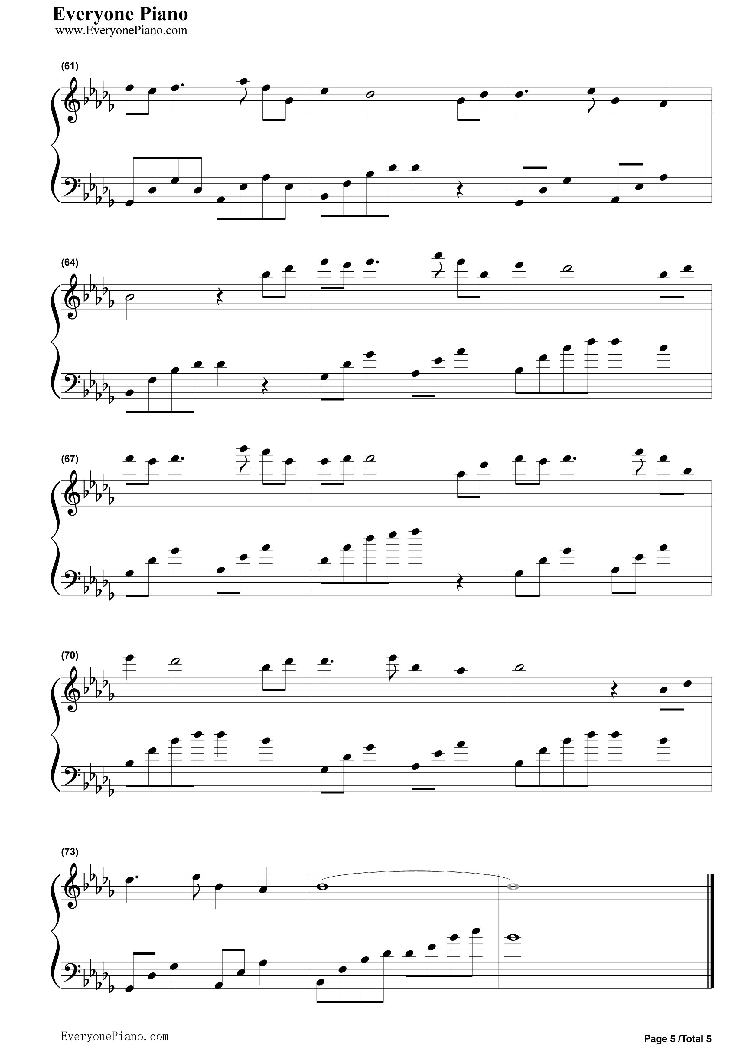 风居住的街道纯钢琴曲五线谱预览5