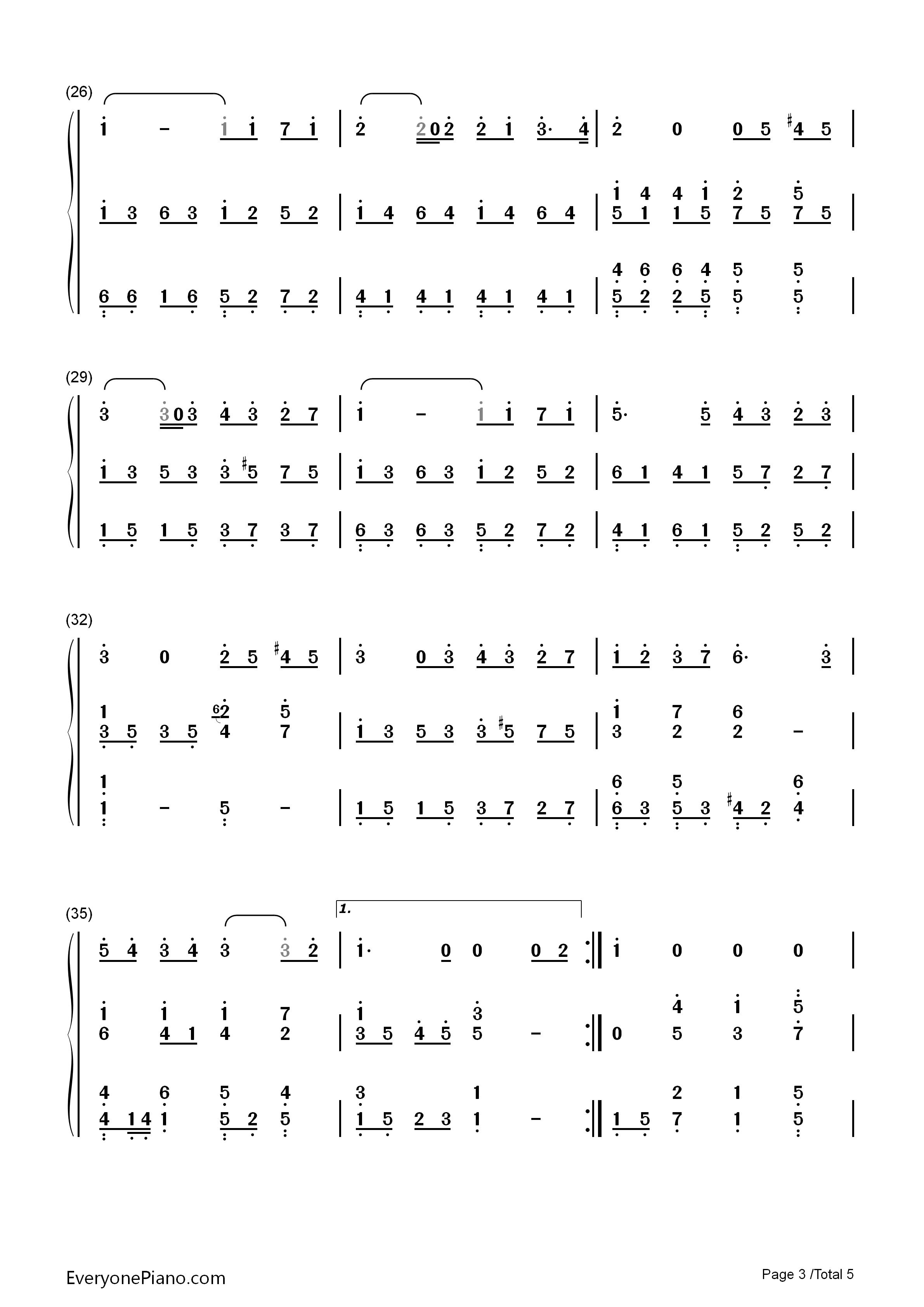 彩虹伴奏版-周杰伦双手简谱预览3