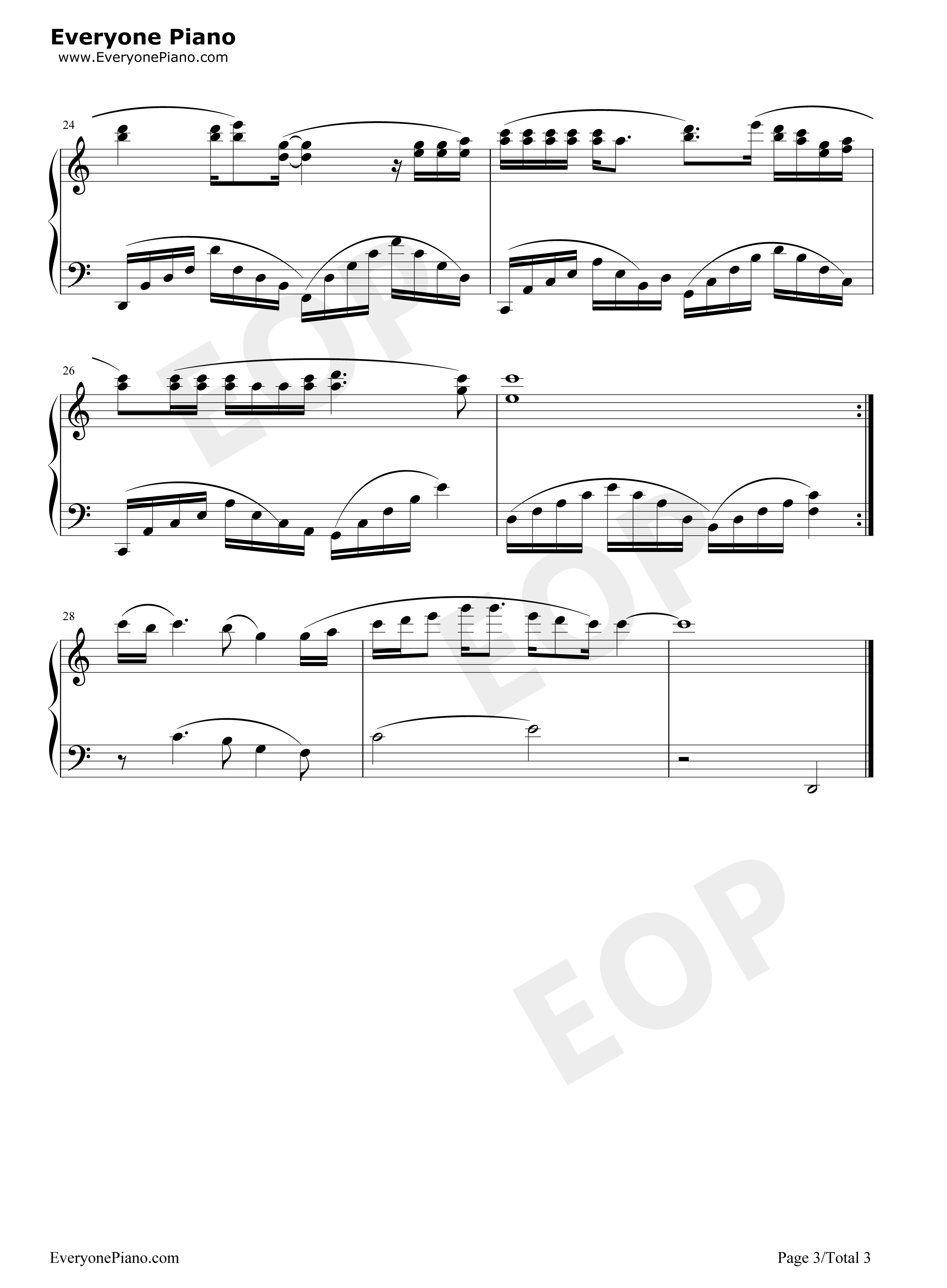 一万个理由-郑源五线谱预览3-钢琴谱(五线谱,双手简谱
