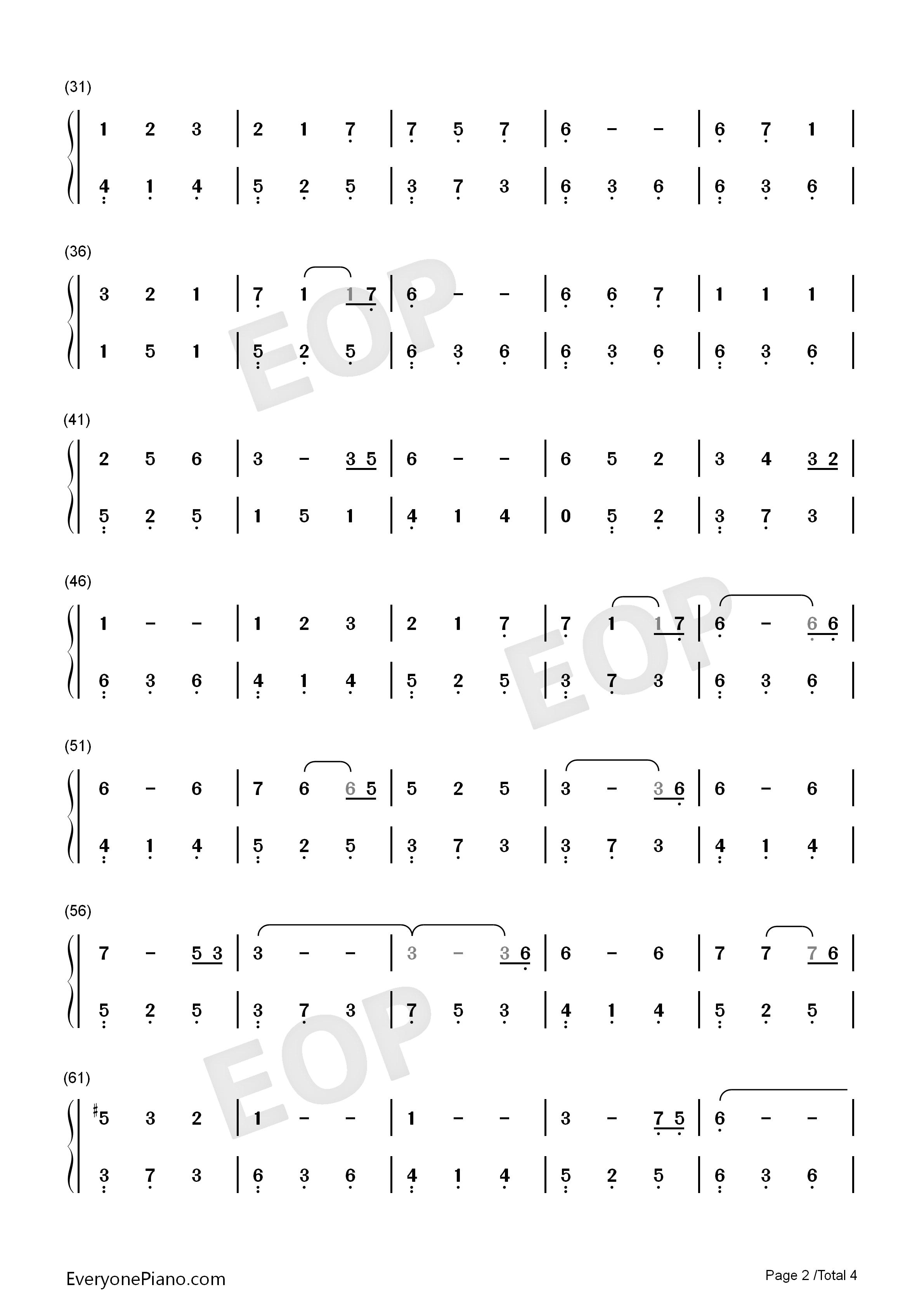 珍惜-《陆贞传奇》主题曲-李宇春双手简谱预览2-钢琴