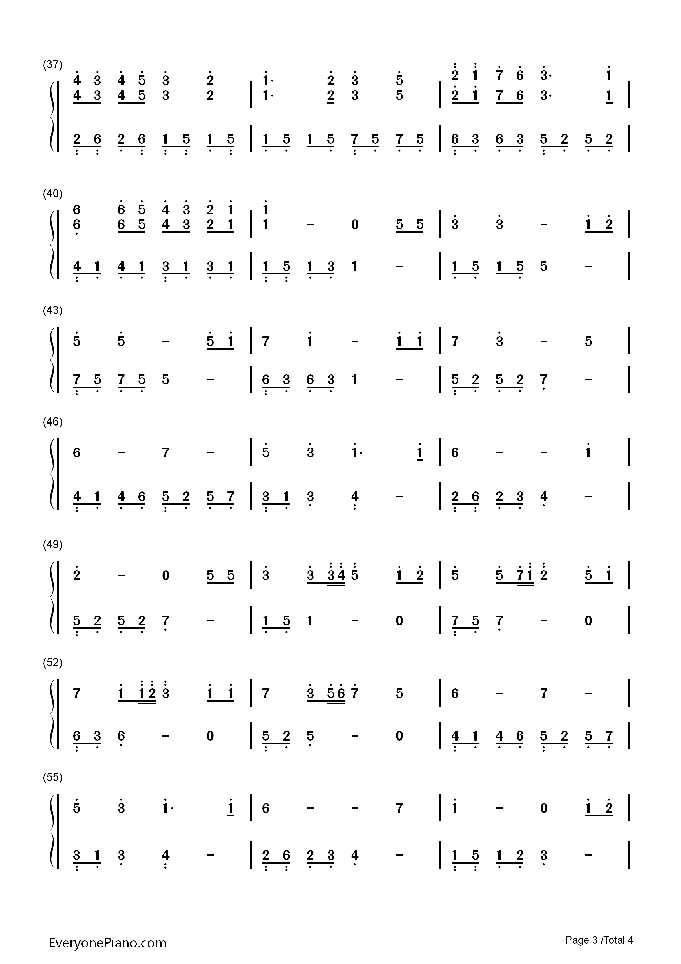 好听-许茹芸-eop教学曲双手简谱预览3-钢琴谱(五线谱