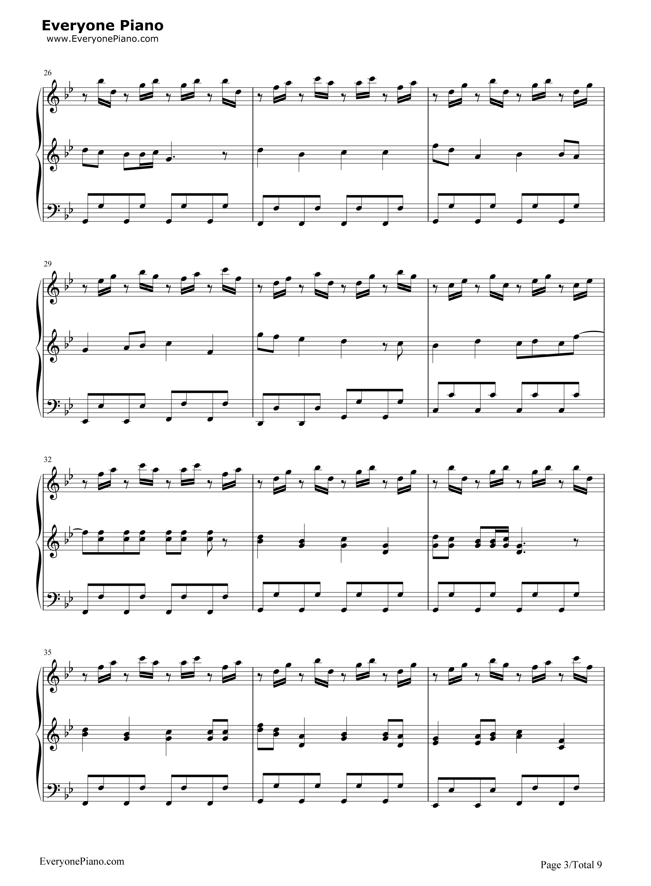 小苹果-三声部版-筷子兄弟五线谱预览3