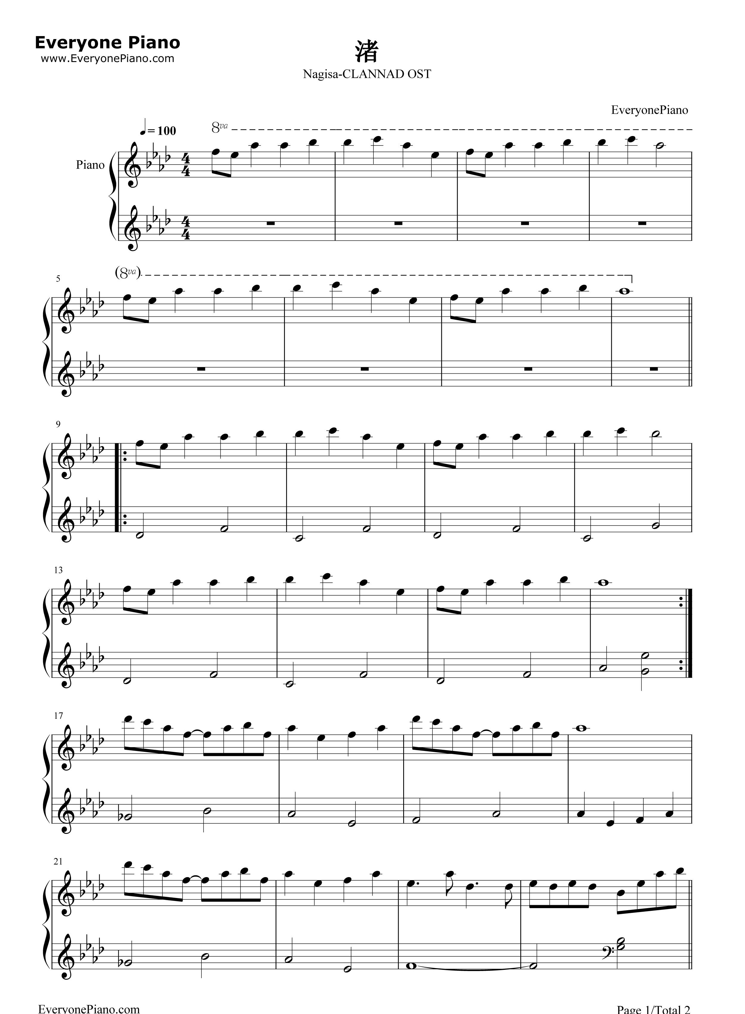 渚-clannad ost五线谱预览1-钢琴谱(五线谱,双手简谱)