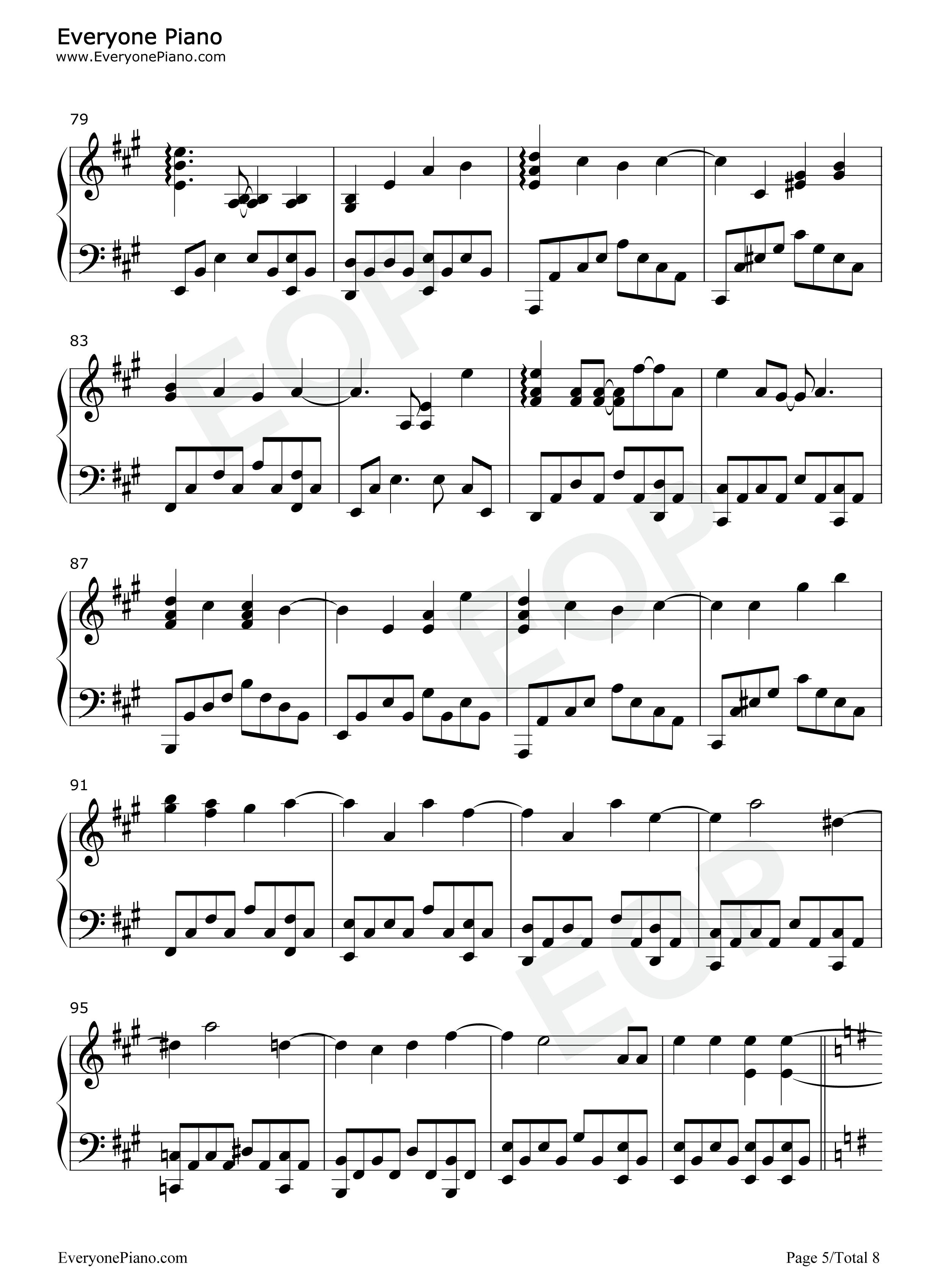 樱花树下-张敬轩五线谱预览5-钢琴谱(五线谱,双手简谱
