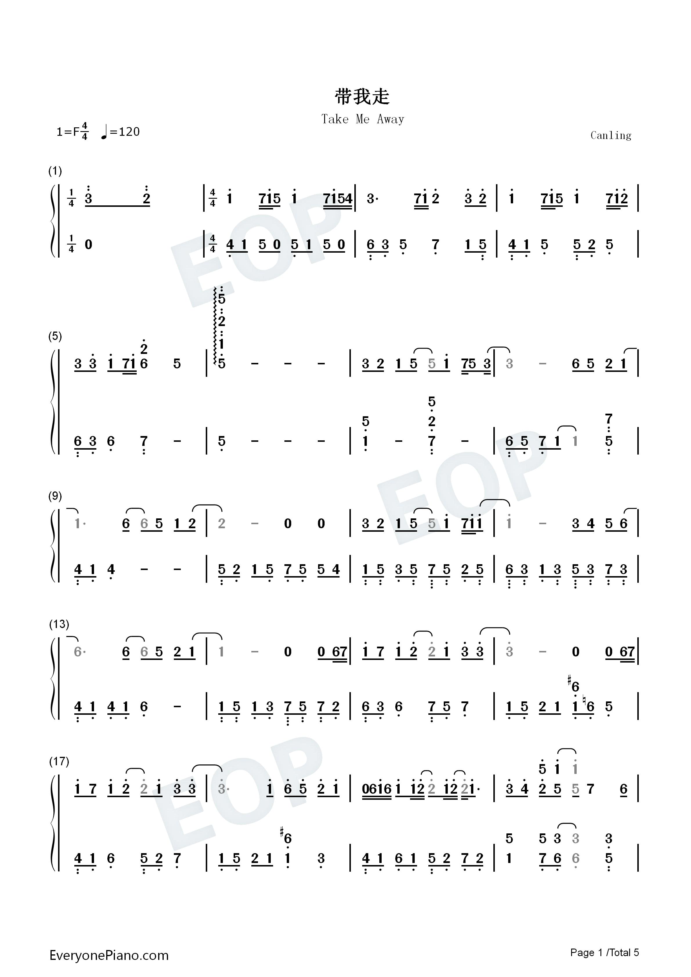带我走-不良笑花ed-杨丞琳双手简谱预览1-钢琴谱(,)