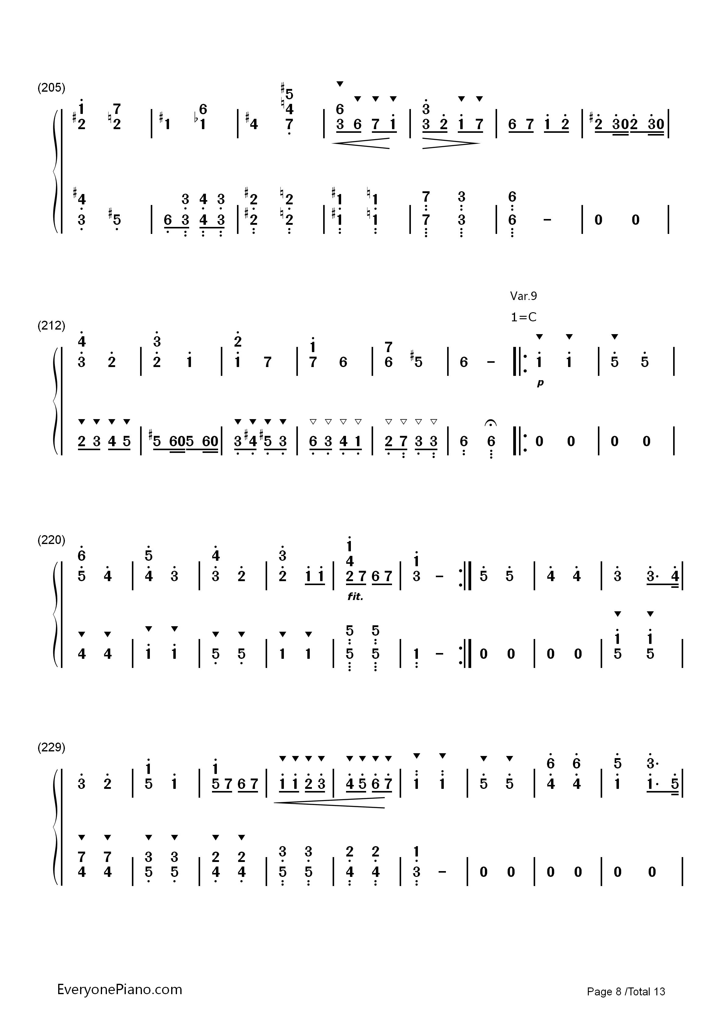 小星星变奏曲-莫扎特双手简谱预览8-钢琴谱(五线谱,)