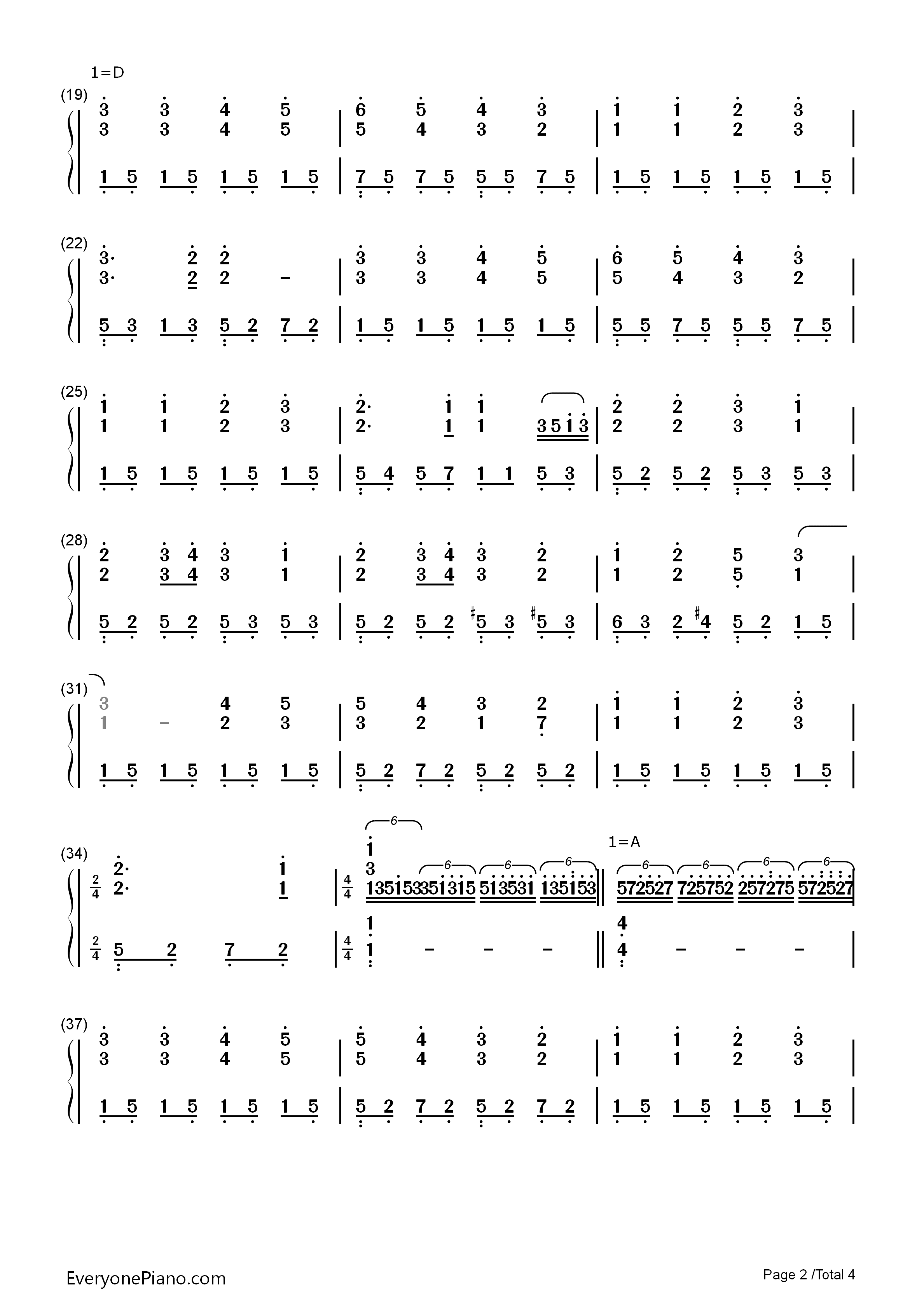钢琴曲谱 经典 欢乐颂-完整版 欢乐颂-完整版双手简谱预览2  亲,在你