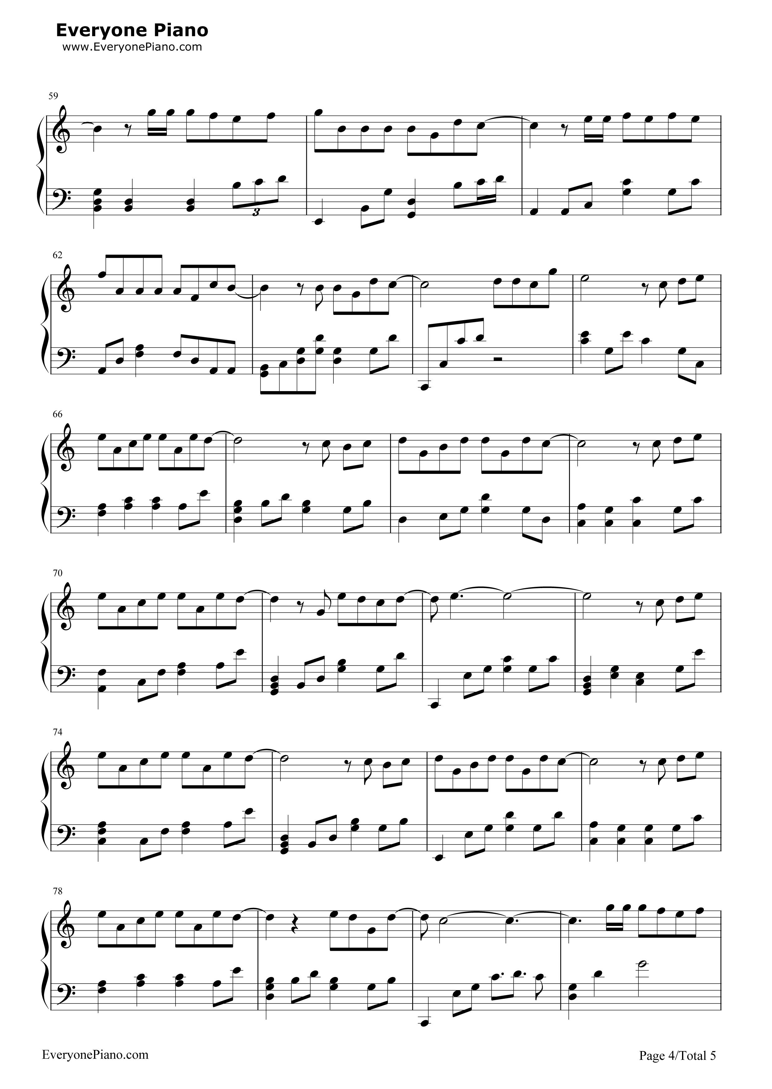 演员-薛之谦五线谱预览4-钢琴谱(五线谱,双手简谱)